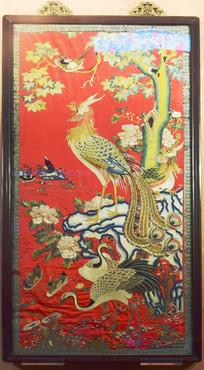 祥鸟刺绣挂屏图片