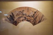山石树木旁的小亭子古代扇面图