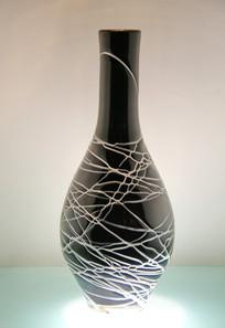 玻璃艺术品黑色玉壶春瓶
