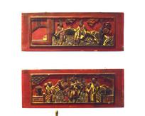 古代的木板人物雕刻
