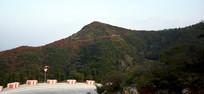 红色的山顶风景图