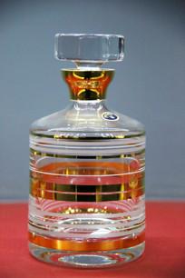 玻璃工艺品金色环纹盖瓶