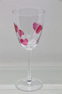 玻璃艺术品红色花瓣纹透明高脚杯