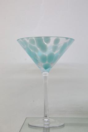 玻璃艺术品蓝色斑点高脚杯