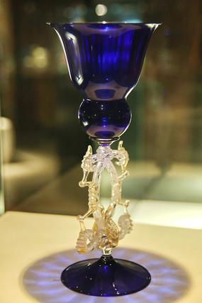 玻璃艺术品蓝色高脚杯