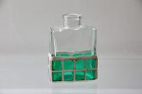 玻璃艺术品蓝色网格瓶
