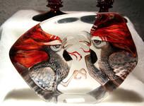 玻璃艺术品老鹰图案摆件