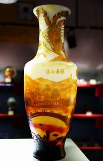 玻璃工艺品避暑山庄凤尾花瓶