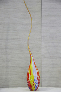 玻璃工艺品长颈斑斓色花瓶