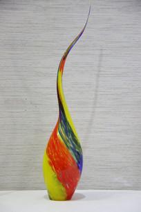 玻璃工艺品长颈彩色花瓶