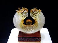 玻璃工艺品雕龙摆件