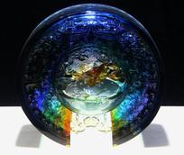 玻璃工艺品雕鱼摆件