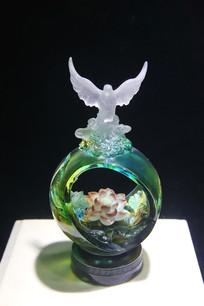 玻璃工艺品飞鹰摆件