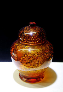 玻璃工艺品牡丹纹盖罐