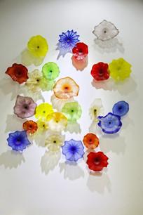 玻璃工艺品五彩花朵