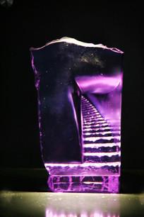 玻璃工艺品紫色楼梯摆件