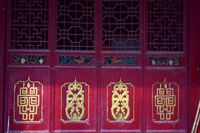 古建筑木门雕饰图片