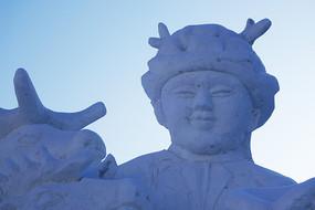 雪雕少年鄂温克族猎人