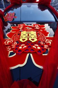 中国结婚娶亲婚上车囍字剪纸