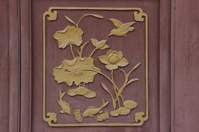 花鸟鱼虫纹木雕漆画