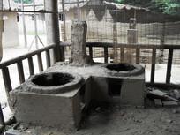 老式的锅台摄影图