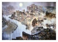 水彩画城市夜景