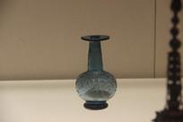 北宋伊斯兰蓝色磨花玻璃舍利瓶