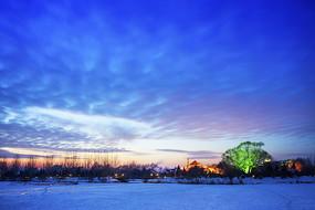 晚霞云彩东北冬季雪地光影