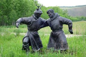 鄂伦春猎人雕塑