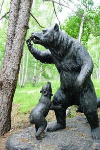 黑熊母子雕塑