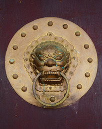 狮面铜质门环图片