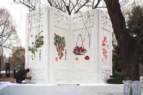 雪雕屏风国画