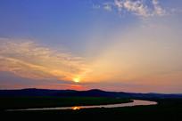 中俄界河额尔古纳河日落风景