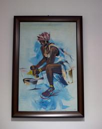 非洲少女油画
