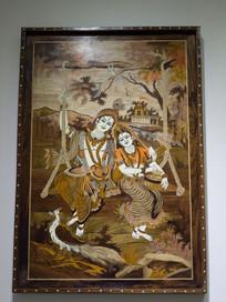 奎师那与茹阿达木版画