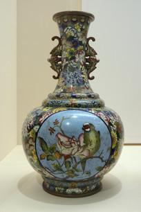 民国景泰蓝花鸟瓶