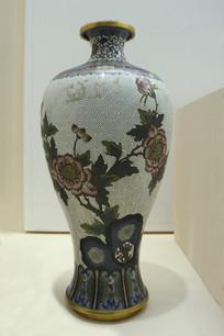 民国景泰蓝牡丹瓶