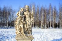 欧洲武士少女雕塑