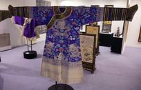 清代蓝色龙纹妆花缎花袍