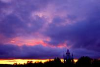 塔楼暮色夕阳