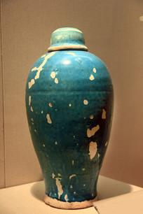 元代孔雀蓝釉带盖梅瓶