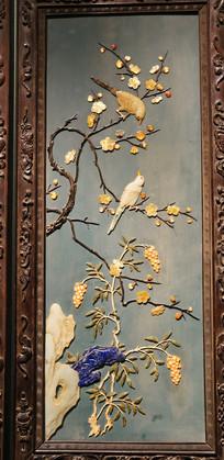 玉石雕喜鹊登梅插屏