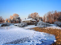 冰花鹅卵石阳光农舍倒影