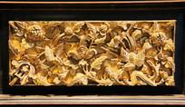 金漆木雕花开富贵花板