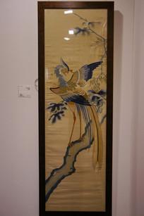 清中期刺绣凤凰梧桐图