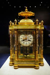 铜镀金嵌珐琅六角钟