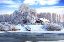 阳光雾凇白雪河流人家