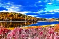 电脑画《杜鹃湖》