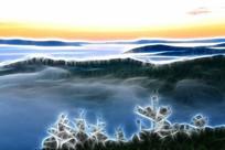 电脑画《山峦云海》