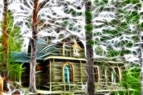 电脑画《松林木屋别墅》